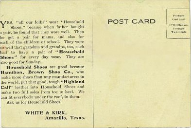 White & Kirk Shoes - Back of card - 1907