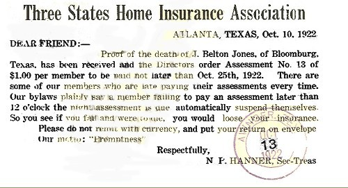 Three States Home Insurance Assoc. - Back of card - 1922
