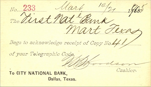 City National Bank - Back Of Card - 1905