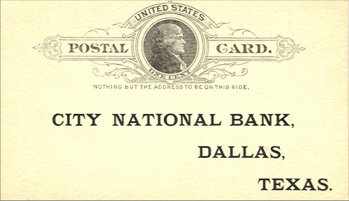 City National Bank - Front Of Card - 1905