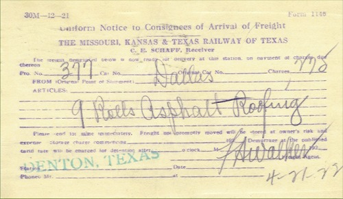 Railroad Freight Notice - 1922
