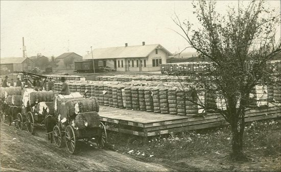 Depot & Cotton Going To Market - 1908