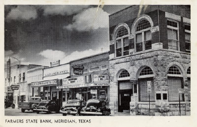 Farmers State Bank & Downtown Scene - 1940's
